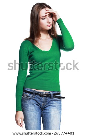 sad beautiful young woman isolated over white - stock photo