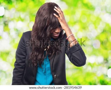 sad black-woman worried - stock photo
