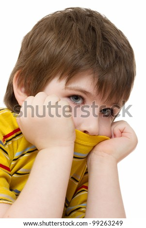 sad boy close up - stock photo