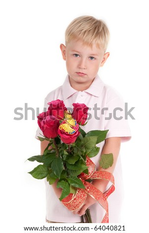Sad boy holding a bunch of red roses - stock photo