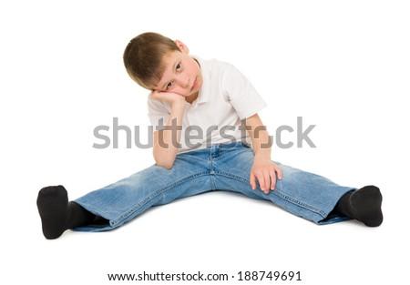 sad boy isolated on white - stock photo