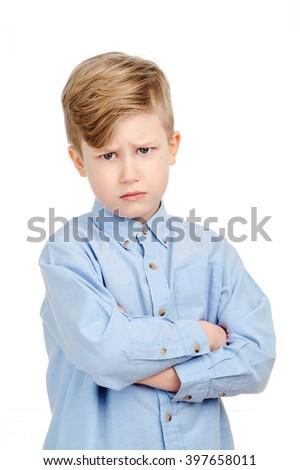 sad boy isolated over white - stock photo