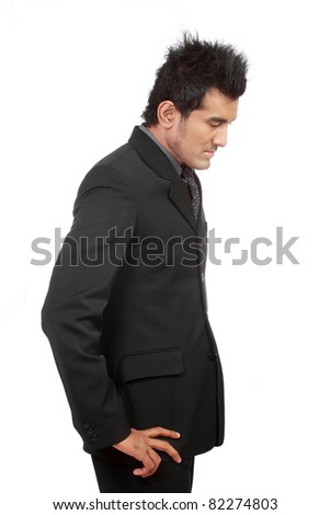 sad business man on white background - stock photo