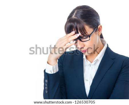 Sad business woman looking depressed, failure concept. Isolated on white