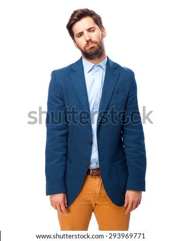 sad businessman boring pose - stock photo