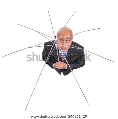 Sad businessman with umbrella frame isolated in white - stock photo