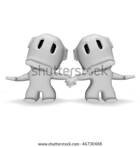 sad caricature man and woman holding hands - stock photo