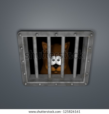 sad cartoon cat behind riveted metal prison window - 3d illustration - stock photo