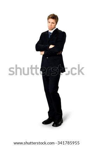 Sad Caucasian man with short medium blond hair in business formal outfit - Isolated