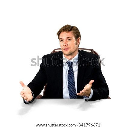 Sad Caucasian man with short medium blond hair in business formal outfit talking with hands - Isolated