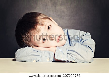Sad Child Boy. Little Kid in Stress - stock photo