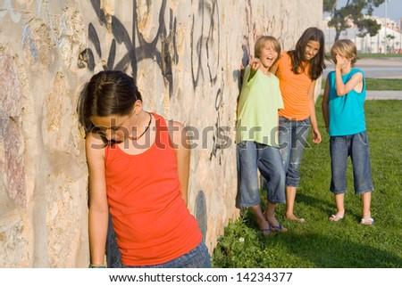 sad child, school bully - stock photo