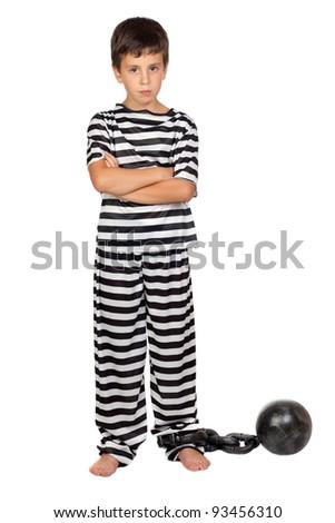 Sad child with prisoner ball isolated on white background - stock photo
