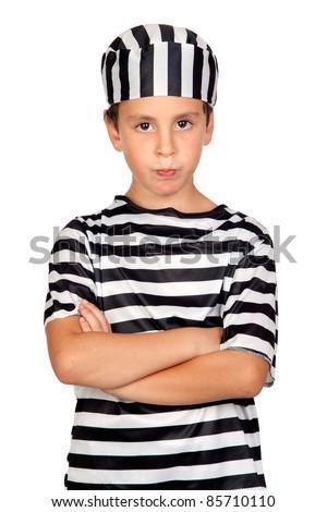 Sad child with prisoner costume isolated on white background - stock photo