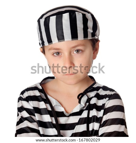 Sad child with with striped prisoner costume isolated on a white background - stock photo