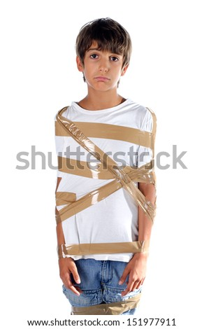Sad child wrapped in self adhesive duct tape, isolated on white