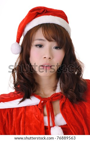 Sad Christmas girl, half length closeup portrait on white background. - stock photo