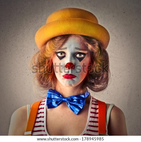 sad clown - stock photo