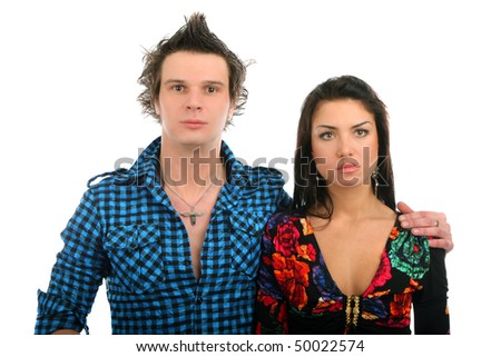 sad couple on a isolated background - stock photo