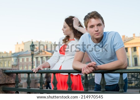 Sad Couple standing outdoor After Having Quarrel - stock photo