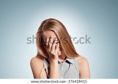 Sad crying disappointed funny business woman isolated on background. Caucasian businesswoman looking unhappy. Negative human emotion facial expression reaction attitude - stock photo