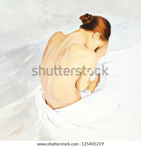 sad crying girl sitting in beds, painting by oil on canvas,  illustration - stock photo