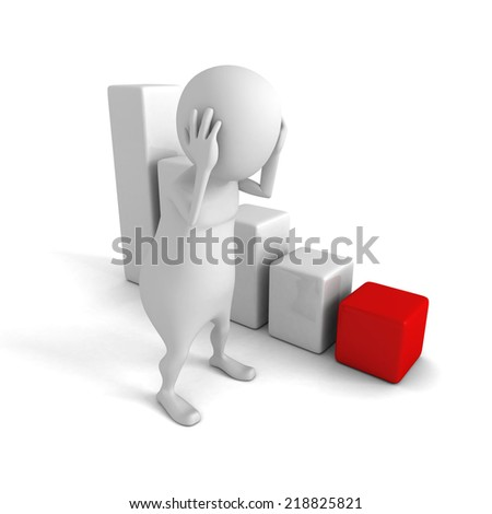 sad 3d man with crisis bar chart graph. business risk concept 3d render illustration