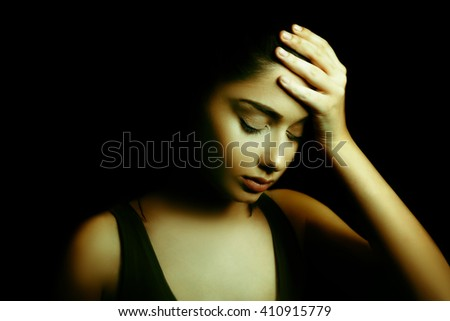 Sad Depressed Young Woman - stock photo