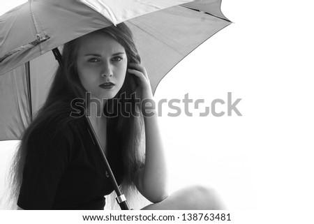 Sad depression emotional young beautiful women thinking about problems - stock photo