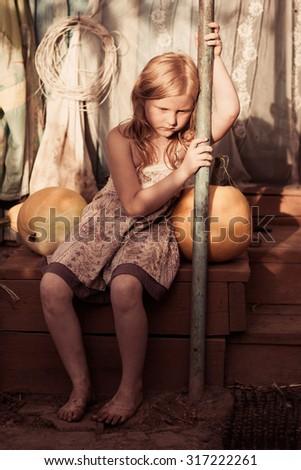 sad dirty girl outdoor - stock photo