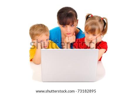 Sad family with computer - stock photo