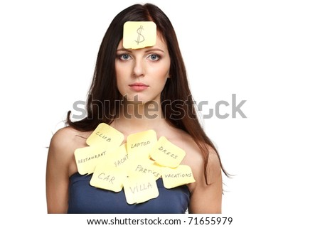 Sad female with thoughts about money - stock photo