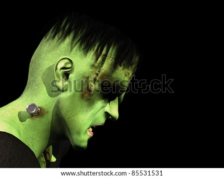 Sad Frankenstein's Monster head down and eyes closed. Isolated on black background. - stock photo