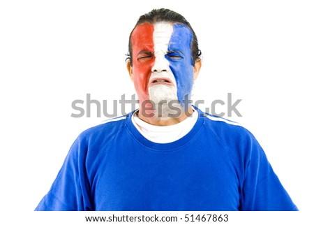Sad French Supporter on white background . - stock photo