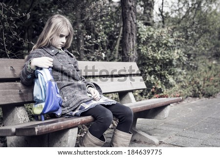 Sad girl after school, no friends - stock photo