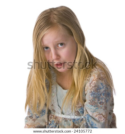 Sad girl crying on a white background - stock photo