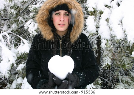 Sad Girl Holds Heart: Room for copy - stock photo
