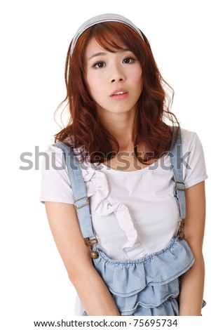 Sad girl looking at you, half length closeup portrait on white background. - stock photo