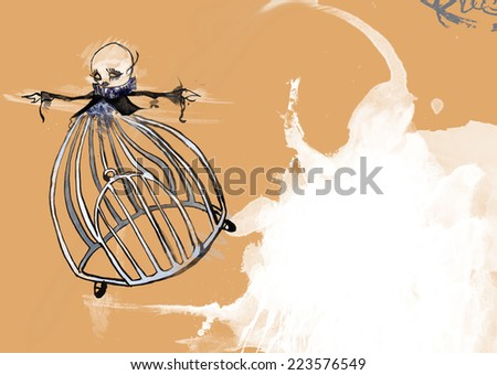 Sad girl with cage for body is flying away. Bald woman is suffering. Painted hand-drawn illustration. Cartoon. Fight against cancer adverts or other diseases. Empty space for text and typography. - stock photo