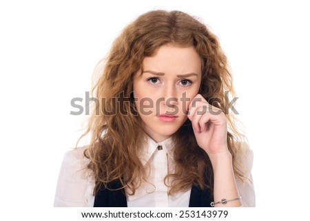 Sad girl with curly hair. Problems in the business. Isolated on a white background - stock photo