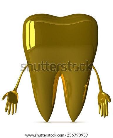 Sad golden tooth character isolated on white background, front view - stock photo
