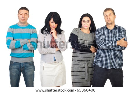 Sad group of people with problems standing in a row  and thinking isolated on white background - stock photo