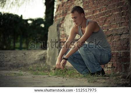 sad guy - stock photo