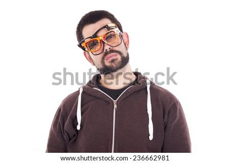 Sad guy wearing multiple glasses - stock photo