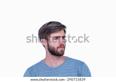 Sad handsome man looking away on white background
