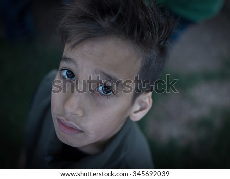 Sad kid - stock photo