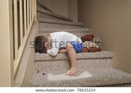 Sad little boy - stock photo