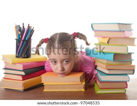 sad  little girl and books - stock photo