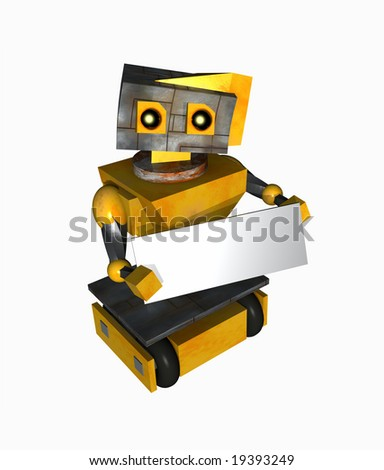 Sad little robot holding a blank sign. Blank sign is suitable for your message. - stock photo
