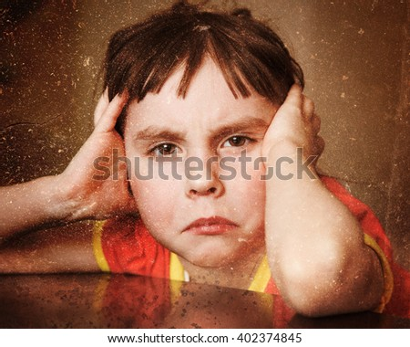 Sad lonely child. - stock photo